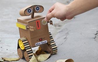 用紙板制造投幣電動玩具機器人車