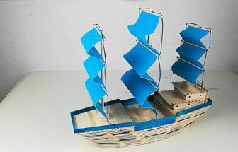 雪糕棍自制一艘帆船模型