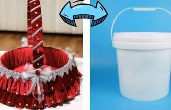 廢舊塑料桶DIY漂亮手提籃