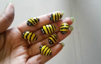 DIY手繪開心果殼小蜜蜂