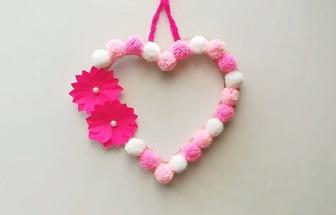 用羊毛线DIY一个好看的爱心壁挂