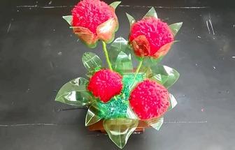 手工制作人造大麗花盆栽花卉