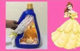 用洗衣液瓶制作貝兒公主的迷你房間