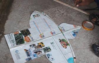 用舊報紙DIY一個簡單的鳥形風箏