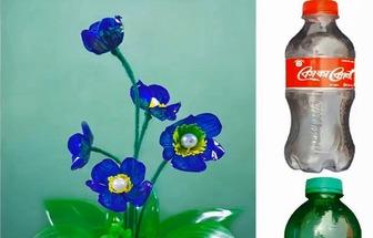 手工DIY塑料藍雪花盆栽花卉
