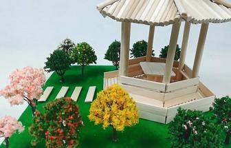 雪糕棍DIY搭建公園涼亭