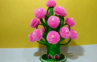塑料瓶DIY毛絨球花盆栽