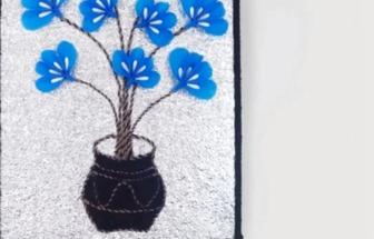 用購物布袋和棉簽棒DIY漂亮的花藝壁畫
