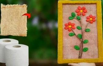 用舊麻布和衛生紙DIY有趣的植物畫