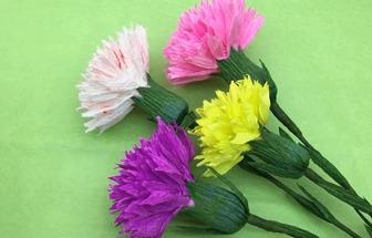 教你用皺紋紙DIY漂亮的康乃馨花束