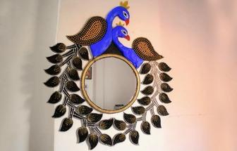 教你動手做一個漂亮的孔雀裝飾鏡
