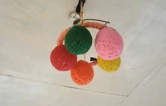 手工DIY有趣的毛線球掛飾