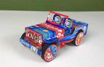如何用牙膏盒制作一輛玩具吉普車
