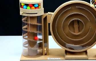 用紙板制作膠球自動售貨機