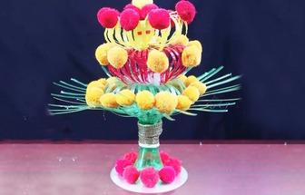 教你用羊毛線和廢舊塑料瓶DIY漂亮的花藝裝飾