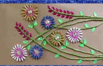 教你用棉簽棒DIY一幅漂亮的花草畫