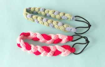 手工鉤針編織配飾麻花辮發帶