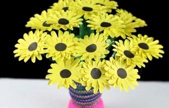 DIY寶特瓶百日菊盆栽假花擺飾