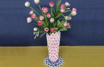 用棉签棒DIY一个简单的工艺花瓶
