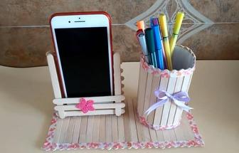 自制雪糕棍手機支架和筆筒