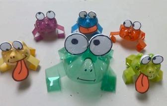 廢塑料瓶DIY的Q版彈跳青蛙