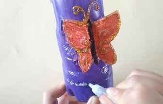 空塑料瓶diy漂亮的收納盒筆筒