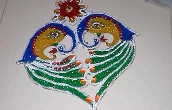 普通紙板DIY印加風格彩色孔雀壁掛