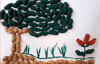 手工DIY花生殼花草樹木裝飾畫