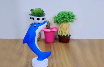教你用泡沫箱DIY海豚花盆