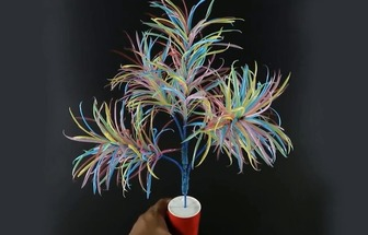 教你用吸管DIY五颜六色的花艺盆栽