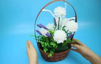 教你用衛生紙DIY漂亮好看的花藝花籃