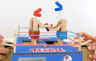 教大家用紙板制作桌面拳擊玩具