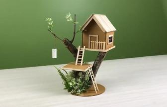 手工制作可愛的迷你樹屋模型