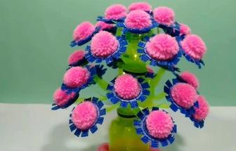 用塑料瓶和毛線DIY漂亮有趣的花藝裝飾