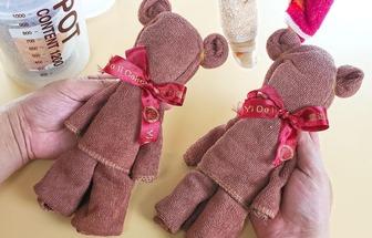 手工疊舊毛巾變泰迪熊娃娃