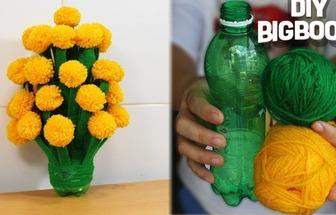 用飲料瓶和毛線做漂亮的乒乓菊盆栽