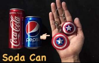 用可樂罐做出美國隊長的五星盾牌