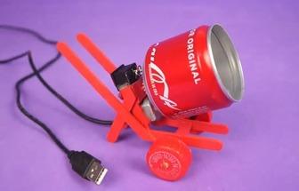 廢易拉罐自制小型滾筒式攪拌機