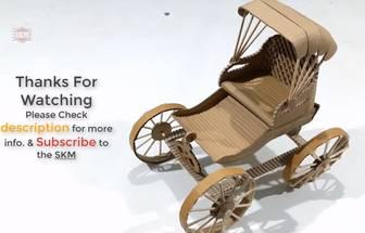 用廢紙箱做出好看的復古黃包車模型