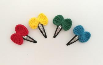 手工鉤針編織毛線蝴蝶結發夾