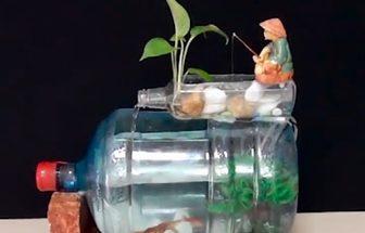 舊水桶改造DIY釣魚人魚缸