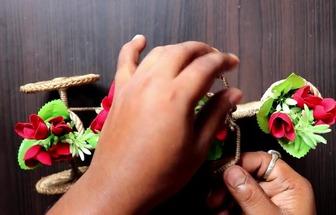 教你用紙板和麻繩DIY漂亮的三輪車花籃