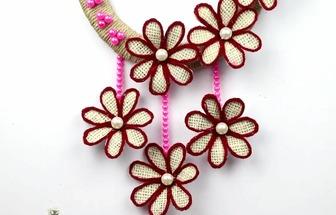 利用麻布和串珠DIY好看的墻掛飾物
