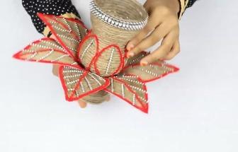 用塑料瓶和麻布DIY好看的花瓶擺件