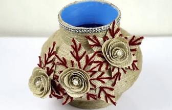 教你用塑料壺和麻繩一起制作好看的大花瓶