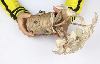用麻布麻繩DIY好看的手工花瓶