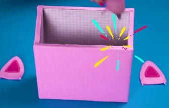 用紙板DIY漂亮的小豬儲物盒