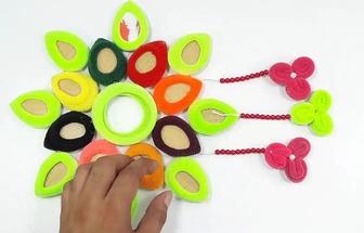 用紙板和頭繩DIY好看的墻掛裝飾