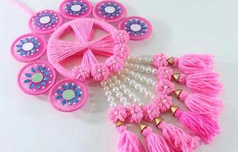 用羊毛線和串珠DIY好看的墻掛裝飾