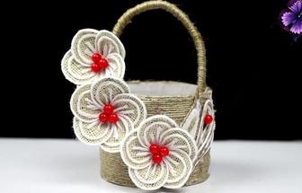 用塑料瓶和麻繩DIY好看的手提籃